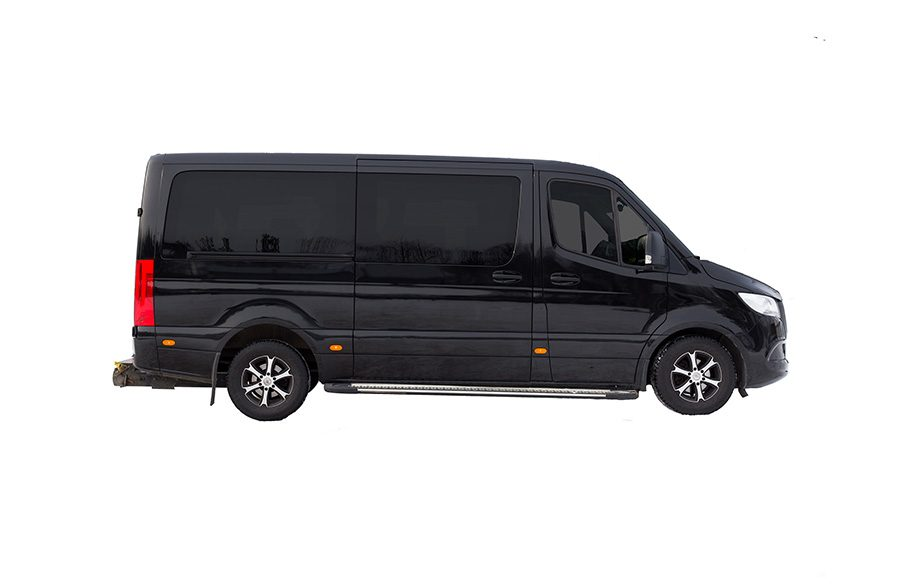 Mini vans for max 8 passengers. Mercedes Benz taxi